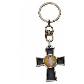 Porte-clé croix Saint Esprit zamac émail noir s2