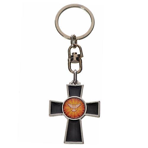 Porte-clé croix Saint Esprit zamac émail noir 1
