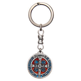 Keychain with Saint Benedict cross medal, zamak 2.9cm s2