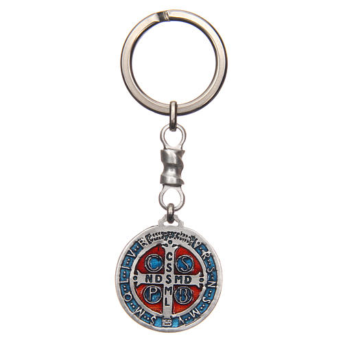 Keychain with Saint Benedict cross medal, zamak 2.9cm 2