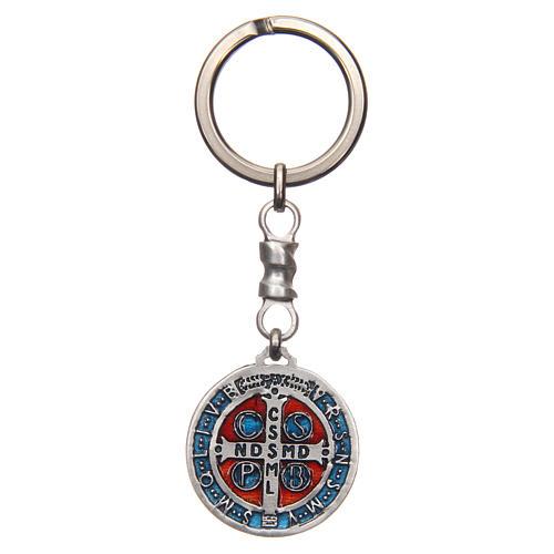 Porte-clé médaille croix Saint Benoît zamac 2,9 cm 2