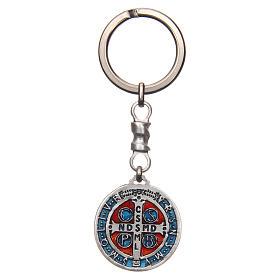 Keychain with Saint Benedict cross medal, zamak 2.9cm s2