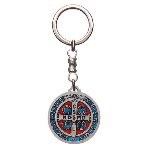 Keychain with Saint Benedict cross medal, zamak 4cm 2