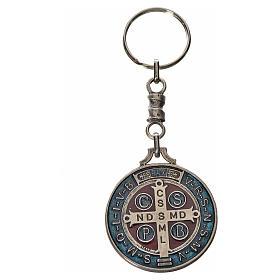 Porte-clé médaille croix Saint Benoît zamac 4 cm s2