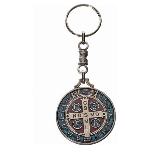 Porte-clé médaille croix Saint Benoît zamac 4 cm 2