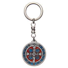 Chaveiro medalha cruz São Bento zamak 4 cm s2