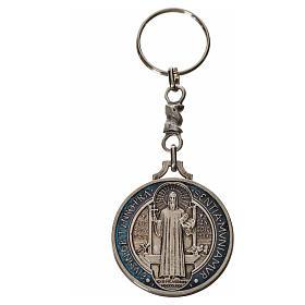 Keychain with Saint Benedict cross medal, zamak 4cm s3