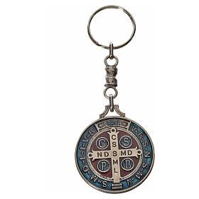 Keychain with Saint Benedict cross medal, zamak 4cm s4