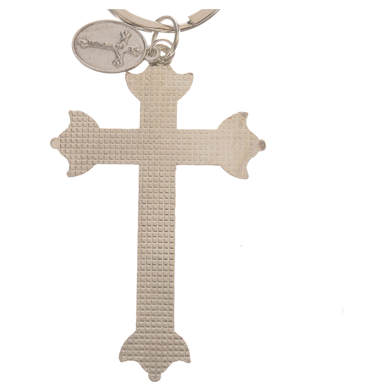 Key chain with cross in metal and rhinestones 3