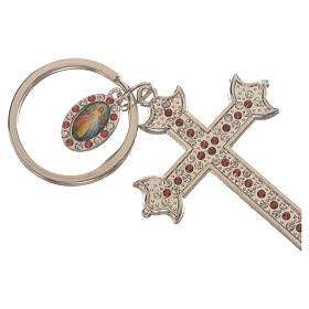 Key chain with cross in metal and rhinestones s2