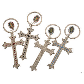 Key chain with cross in metal and rhinestones s3