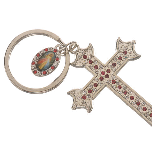 Key chain with cross in metal and rhinestones 2