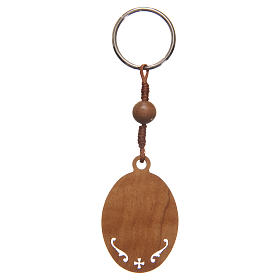 STOCK Key chain in olive wood with Jubilee of Mercy symbol s3