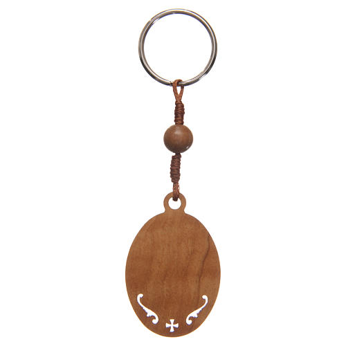 STOCK Key chain in olive wood with Jubilee of Mercy symbol 3
