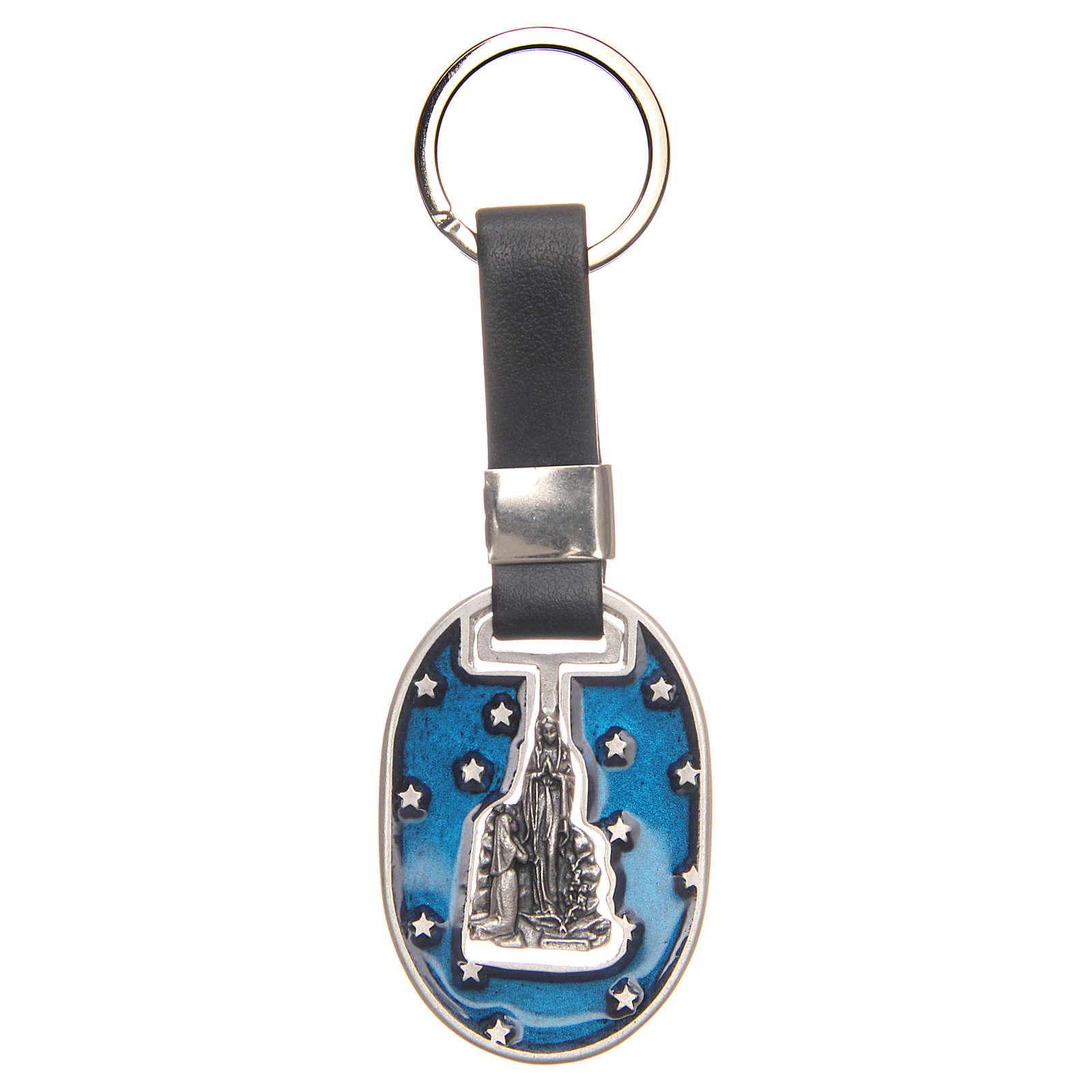 Porte-clef Lourdes zamac argenté vieilli 3