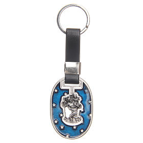 Keyring with Saint Christopher, galvanised antique silver s1