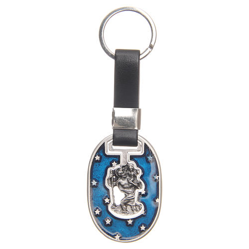 Keyring with Saint Christopher, galvanised antique silver 1