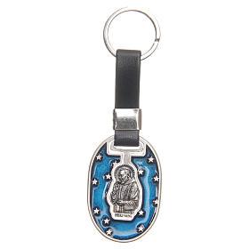 Porte-clef Père Pio zamac argenté vieilli s1