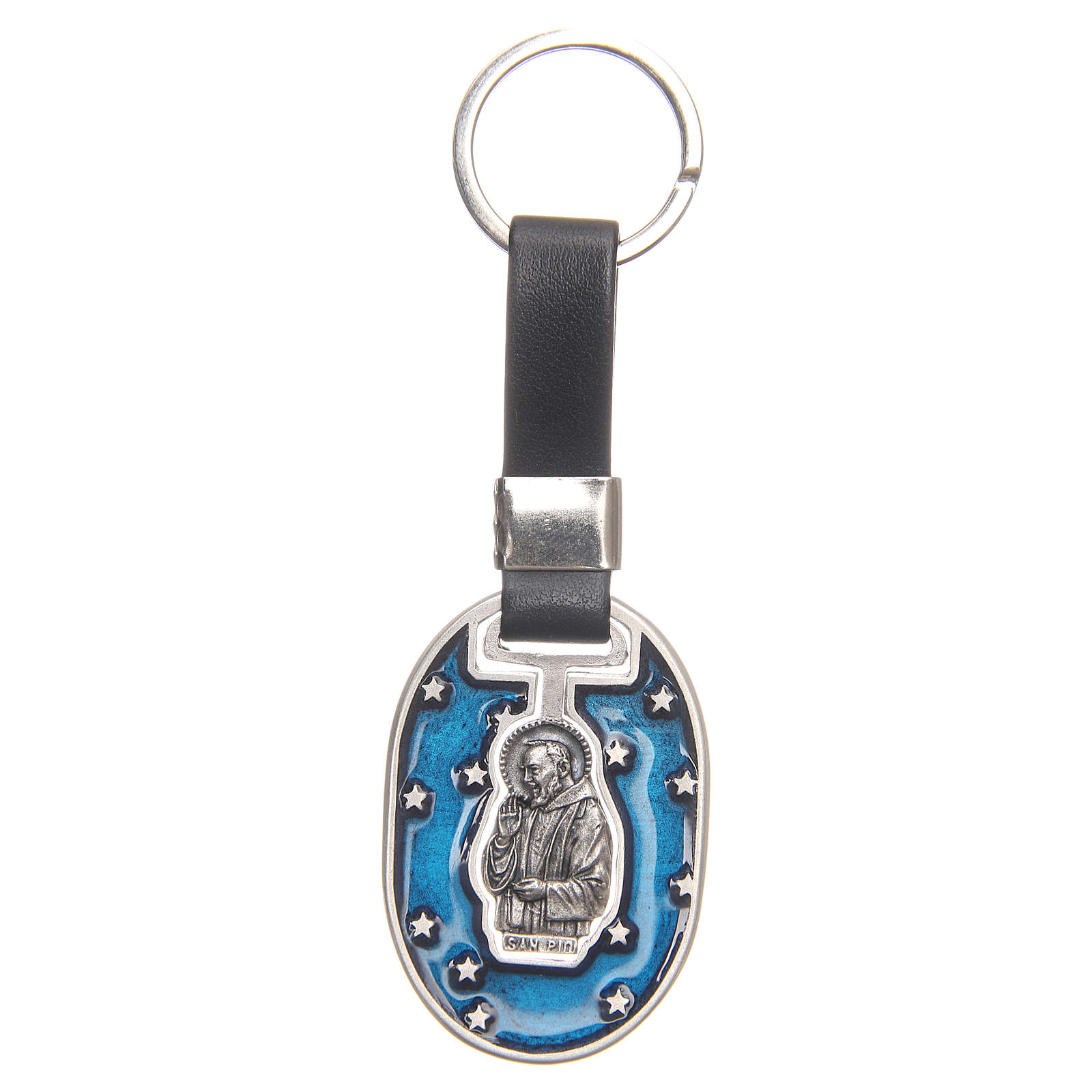 Keyring with Padre Pio, galvanised antique silver 3