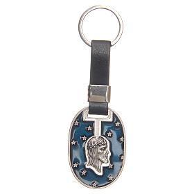 Porte-clef visage Christ zamac argenté vieilli s1