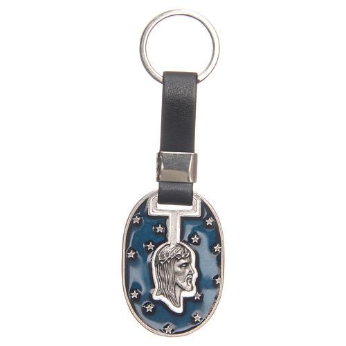 Porte-clef visage Christ zamac argenté vieilli 1