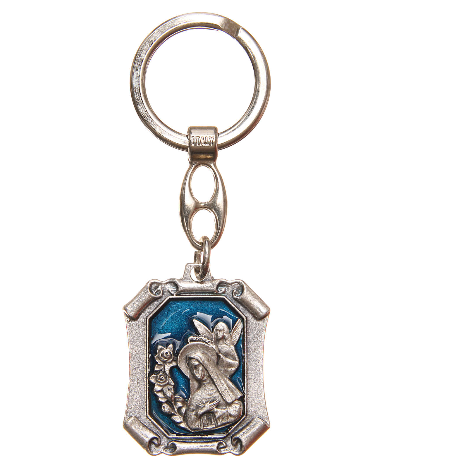 STOCK Key ring Saint Rita nickel-plated, blue enamel 3