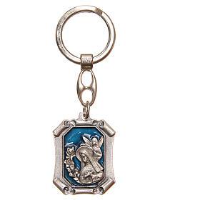 STOCK Key ring Saint Rita nickel-plated, blue enamel s1