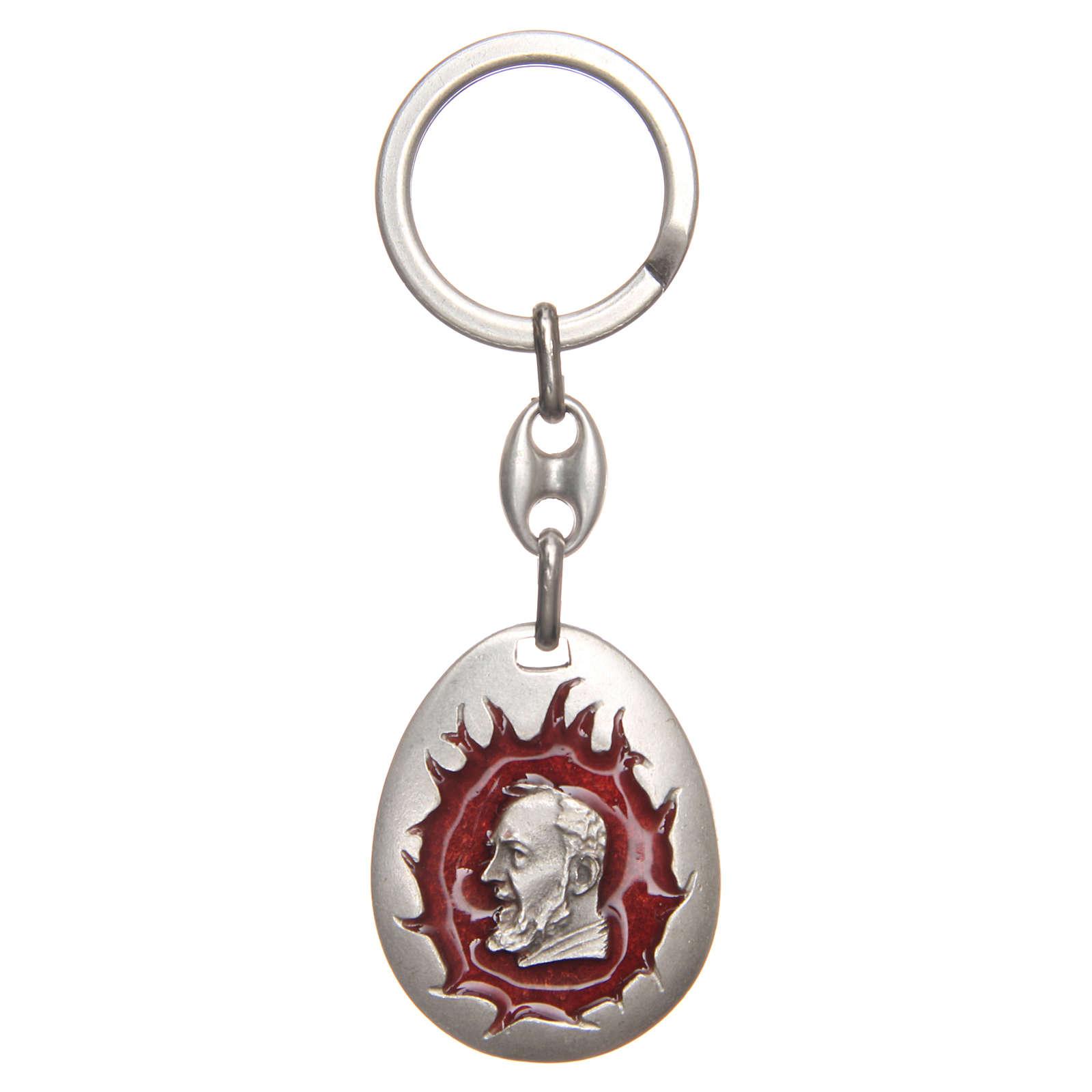 STOCK Portachiavi Padre Pio goccia smalto rosso 3