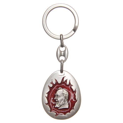 STOCK Portachiavi Padre Pio goccia smalto rosso 1