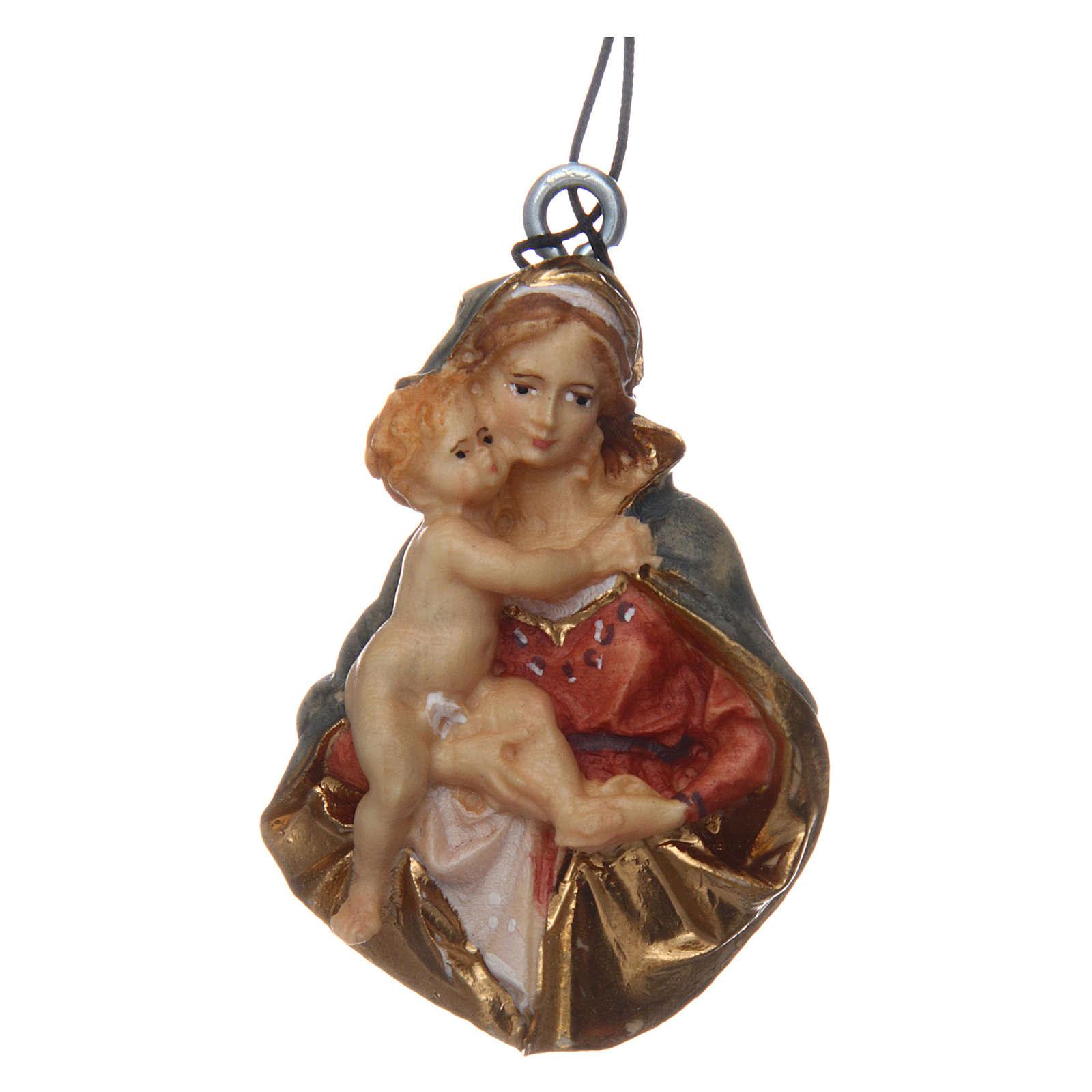Portachiavi Madonna busto legno dipinto Val Gardena 5 cm 3