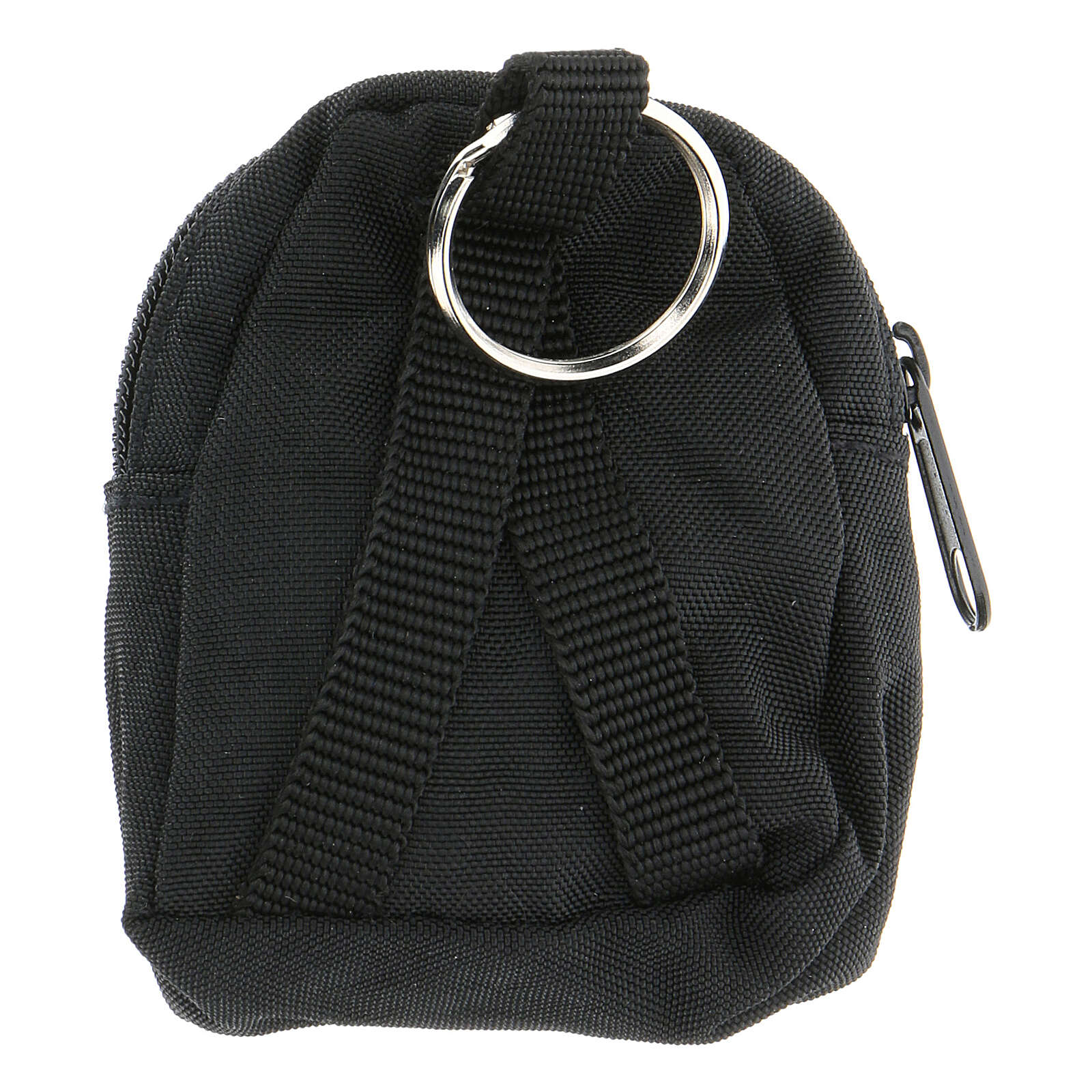 Black backpack key ring hand painted IHS 3