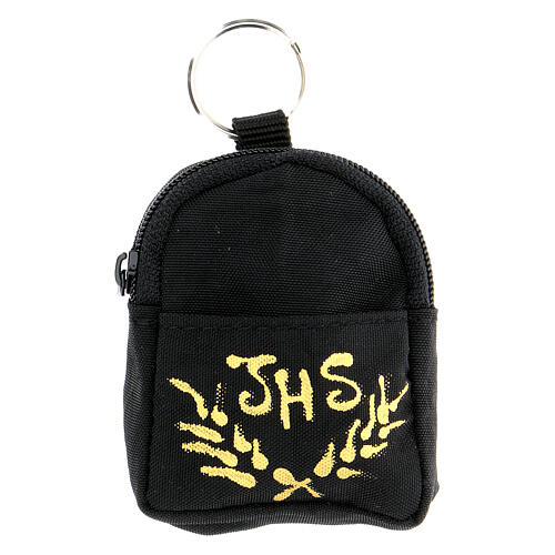Black backpack key ring hand painted IHS 1
