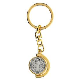 Portachiavi San Benedetto dorato mezzaluna girevole