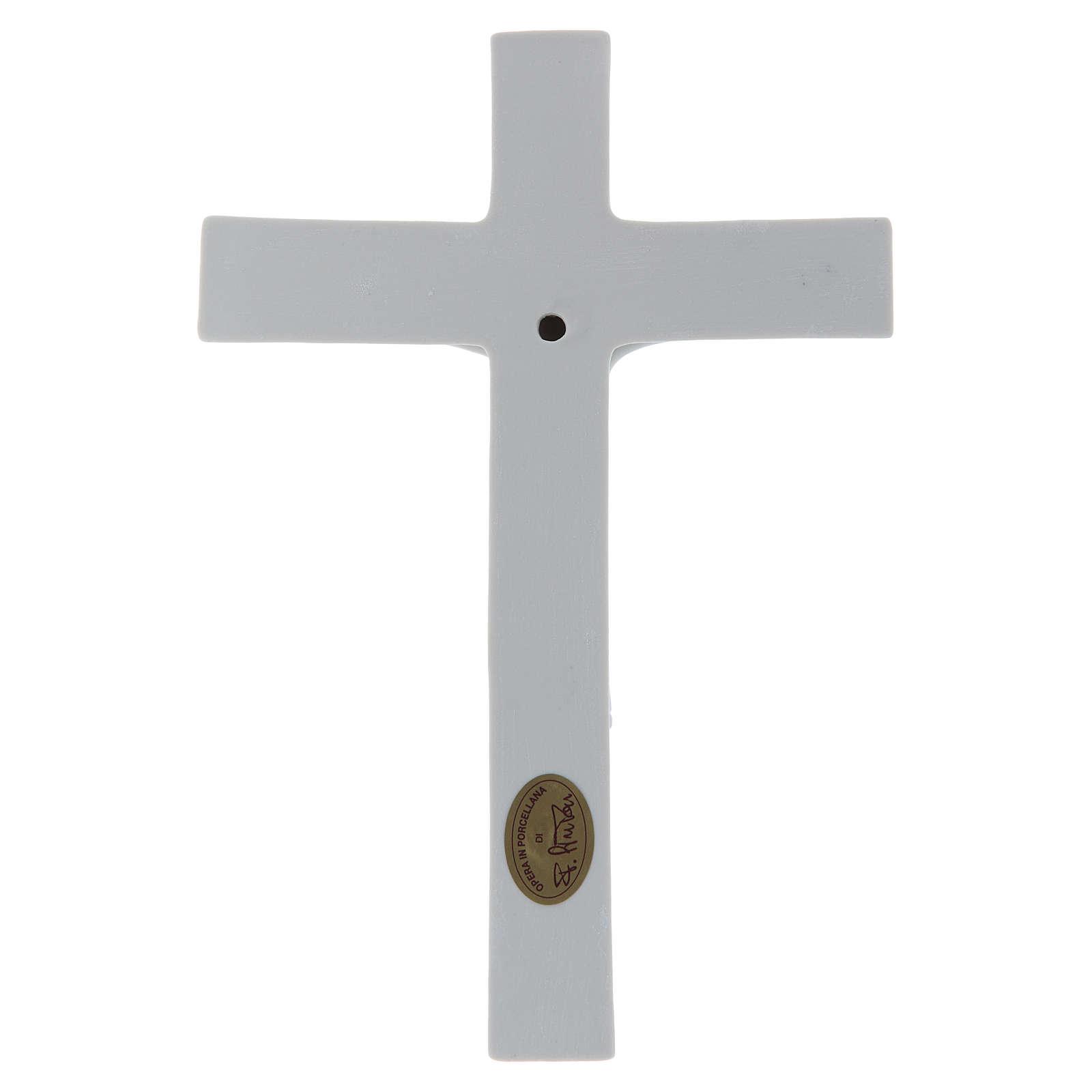 Bassorilievo Pinton porcellana bianca crocifisso tunicato 25X17 cm 4