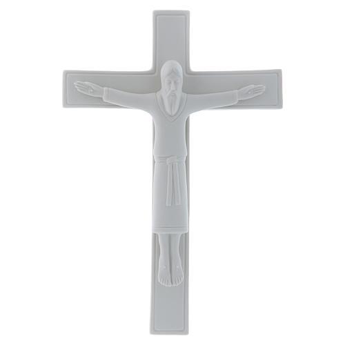 Bassorilievo Pinton porcellana bianca crocifisso tunicato 25X17 cm 1
