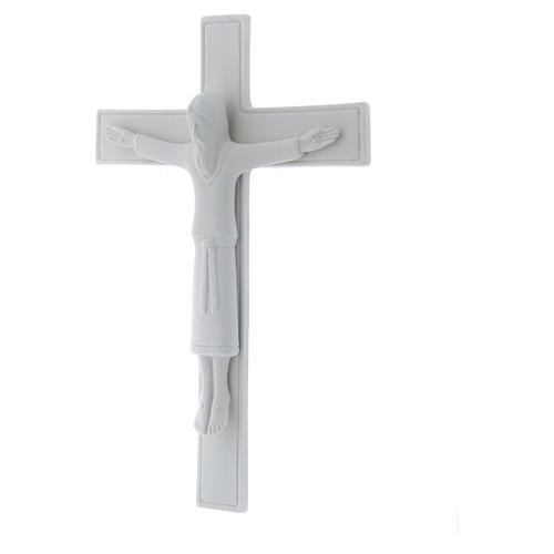 Bassorilievo Pinton porcellana bianca crocifisso tunicato 25X17 cm 2