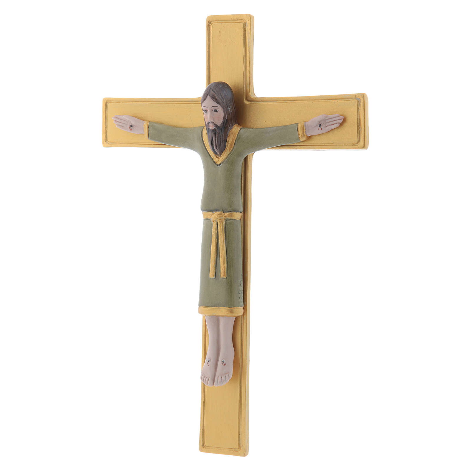 Pinton bas-relief crucifix with Jesus Christ dressed in green tunic and golden cross 25X17 cm 4