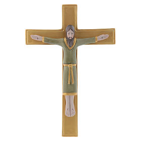 Pinton bas-relief crucifix with Jesus Christ dressed in green tunic and golden cross 25X17 cm s1