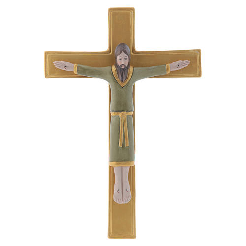 Pinton bas-relief crucifix with Jesus Christ dressed in green tunic and golden cross 25X17 cm 1