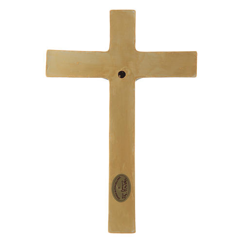 Pinton bas-relief crucifix with Jesus Christ dressed in green tunic and golden cross 25X17 cm 3