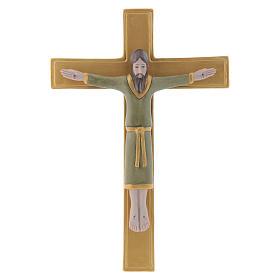 Bassorilievo porcellana Pinton crocifisso tunicato verde croce dorata 25X17 cm s1