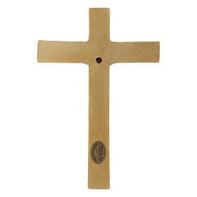 Bassorilievo porcellana Pinton crocifisso tunicato verde croce dorata 25X17 cm s3