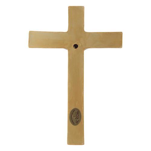 Bassorilievo porcellana Pinton crocifisso tunicato verde croce dorata 25X17 cm 3