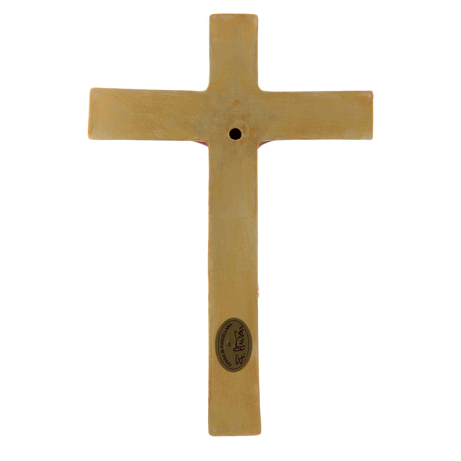 Pinton bas-relief crucifix with Jesus Christ dressed in red tunic and golden cross 25X17 cm 4