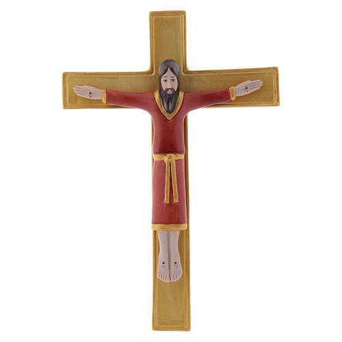 Pinton bas-relief crucifix with Jesus Christ dressed in red tunic and golden cross 25X17 cm 1