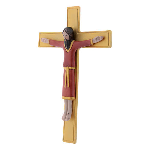 Pinton bas-relief crucifix with Jesus Christ dressed in red tunic and golden cross 25X17 cm 2