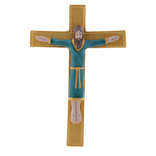 Pinton bas-relief in porcelain Jesus Christ on golden cross dressed with a light blue tunic 25X17 cm 1