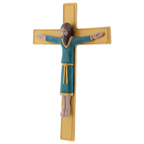 Pinton bas-relief in porcelain Jesus Christ on golden cross dressed with a light blue tunic 25X17 cm 2