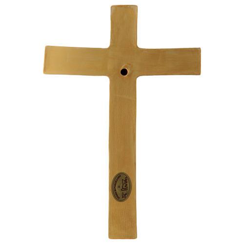 Bassorilievo porcellana crocifisso tunicato azzurro croce dorata Pinton 25X17 cm 3