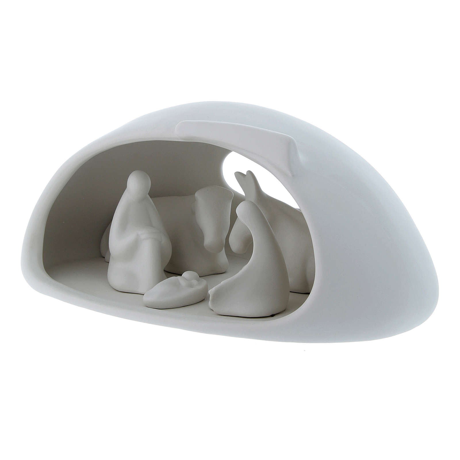 Pinton Holy Family sculpture with cave in white porcelain 17X37X22 cminput   3